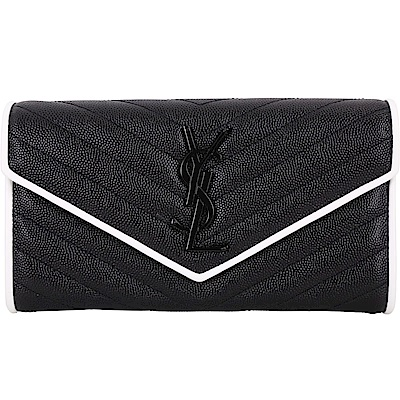 YSL Saint Laurent Monogram撞色滾邊絎縫魚子醬牛皮釦式長夾(黑色)