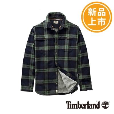 Timberland-男款藍色格紋刷毛純棉長袖襯衫