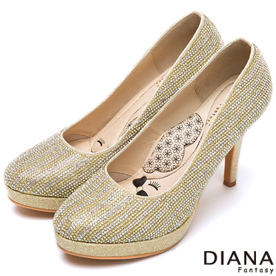 DIANA 超厚切LADY款--粉彩鑽飾亮眼晚宴跟鞋-金