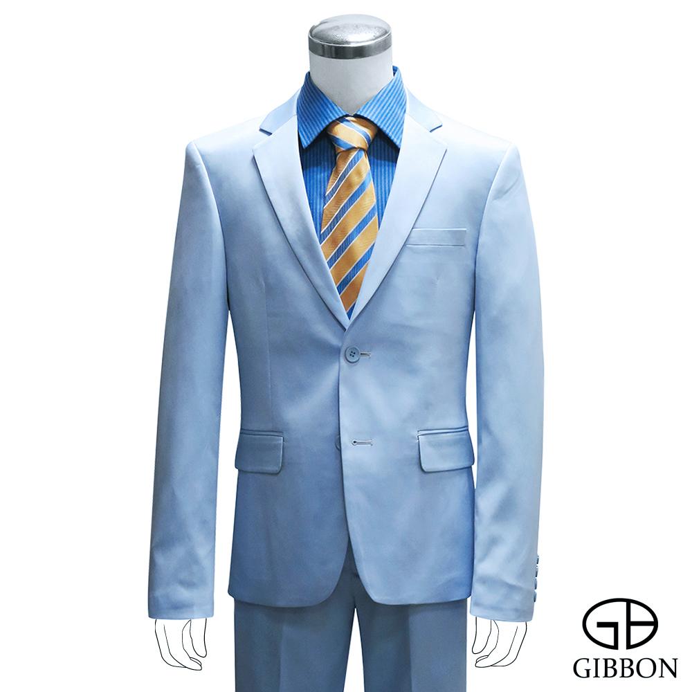 GIBBON 都會時尚修身成套西裝/平口褲‧天藍