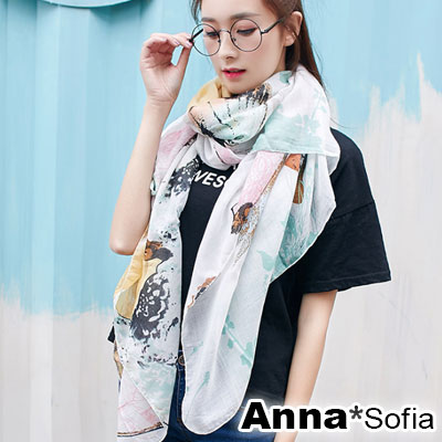 AnnaSofia 葉蝶染印 拷克邊韓國棉圍巾披肩(清新綠黃系)