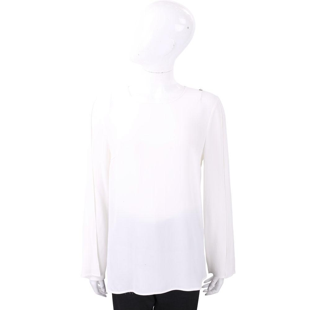 ELISABETTA FRANCHI 交叉片袖剪裁極簡白色雪紡上衣