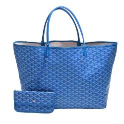 GOYARD St. Louis GM 防水帆布LOGO購物包(大-藍)