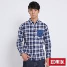 EDWIN 冒險旅行繡花山形格紋襯衫-男-丈青