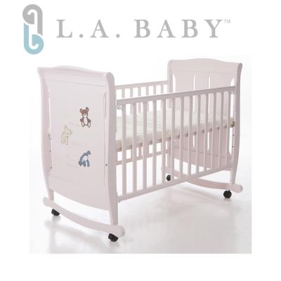 美國 L.A. Baby  芝加哥搖擺大床/童床/木床/嬰兒床(玫瑰粉色)