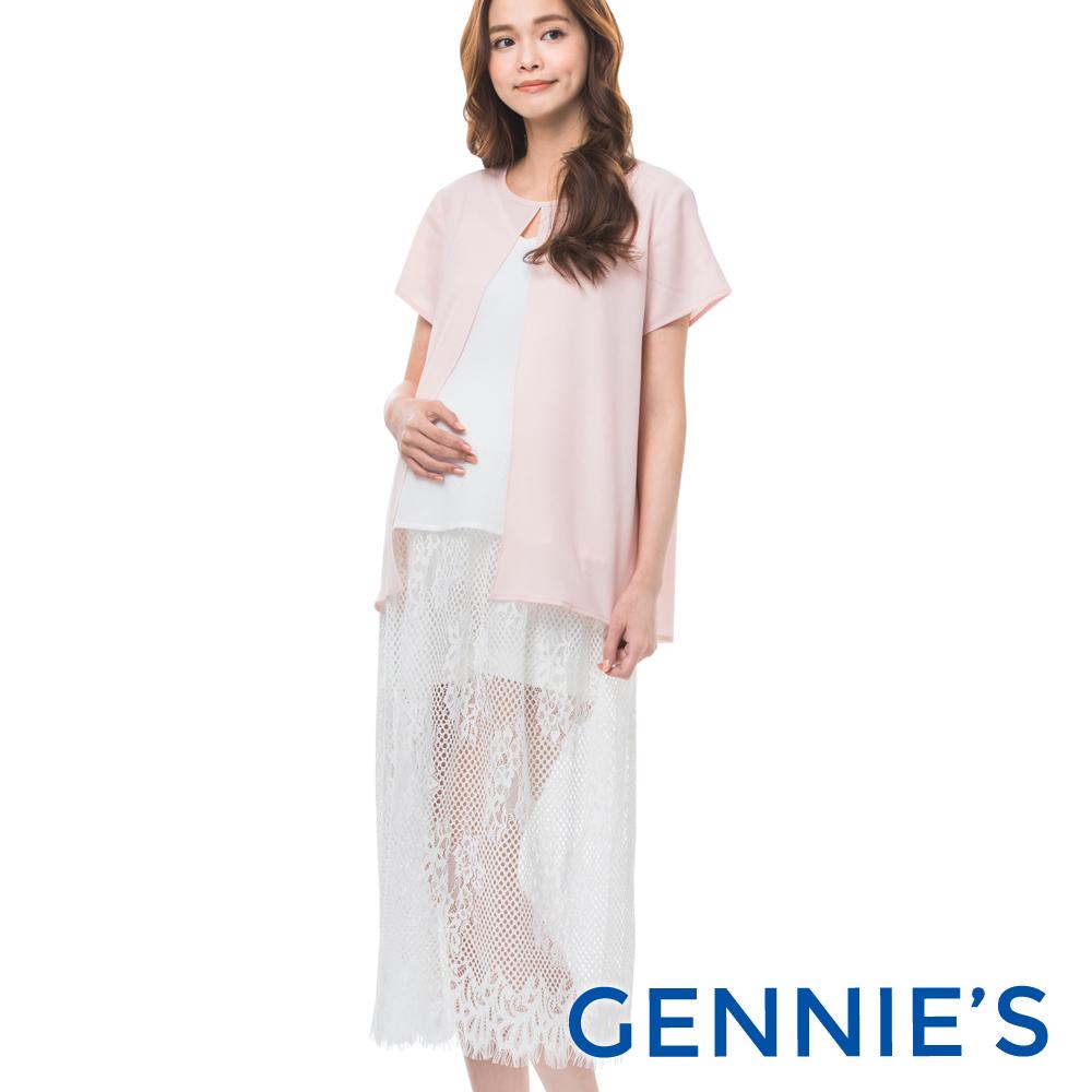 Gennies專櫃-裸膚拼接蕾絲顯瘦內搭洋裝-(T1B15-白)-M