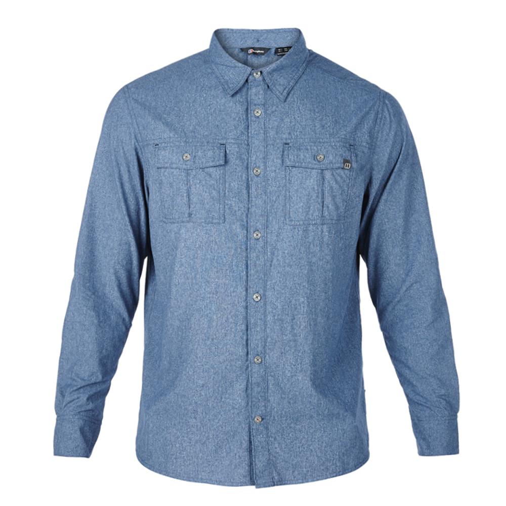 【Berghaus 貝豪斯】男款銀離子透氣抗UV長袖襯衫S05M03-藍