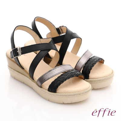 effie 嬉皮假期 真皮編織扣環簡約厚底涼拖鞋 黑色