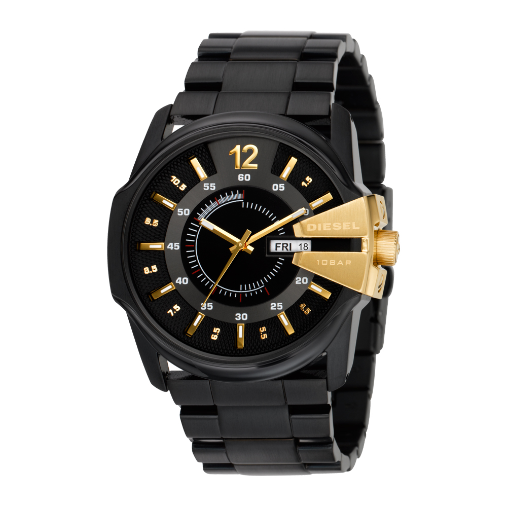 DIESEL 全面計畫立體時尚腕錶(IP黑/金)