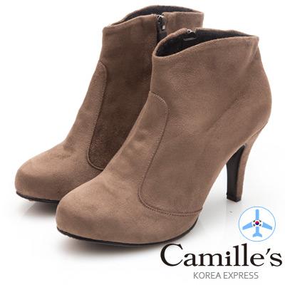 Camille's 韓國空運-正韓製-麂絨素面拉鍊高跟踝靴-咖啡