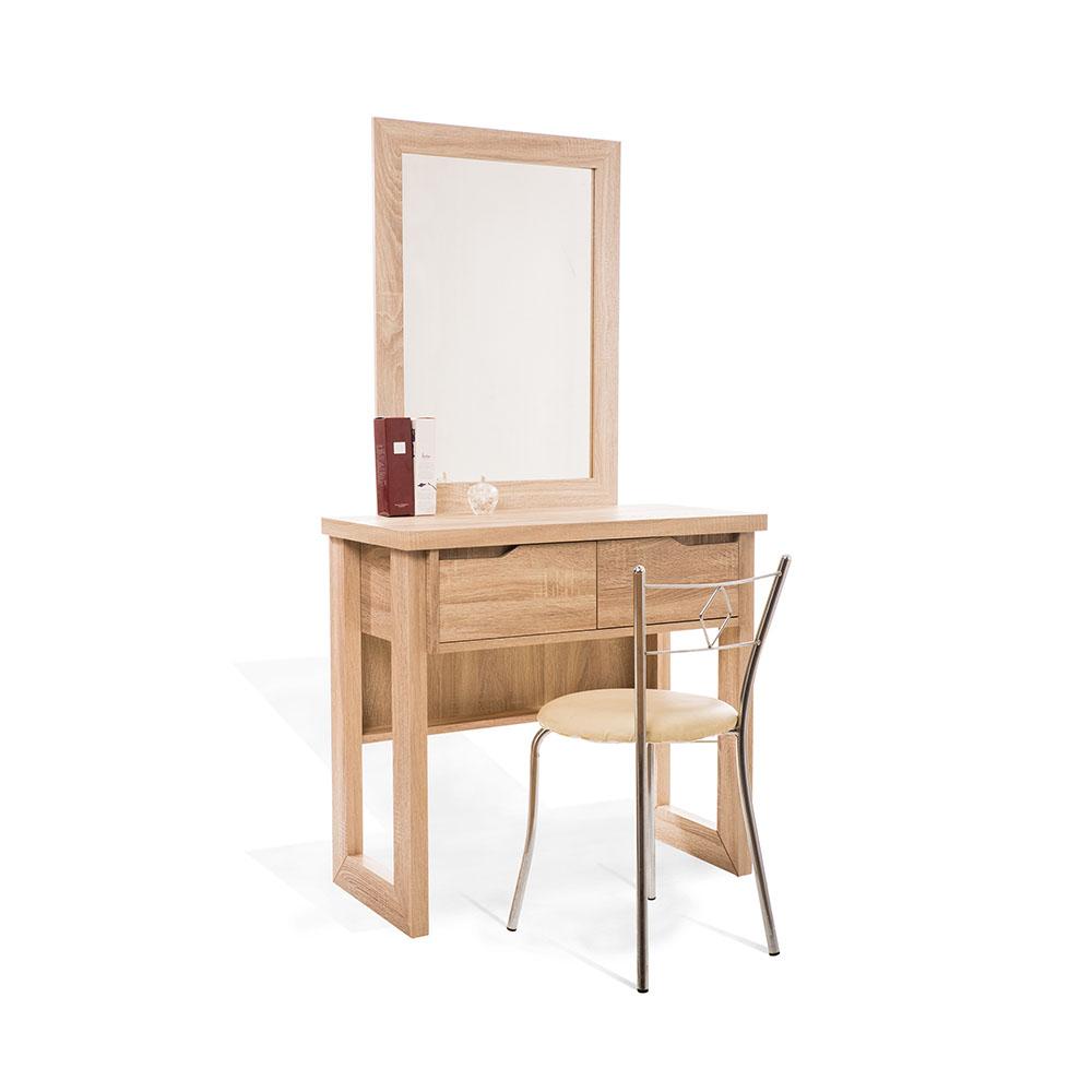 LOHA獨身男女鋼刷耐磨雙抽立鏡(含化妝椅)-42x80x154cm