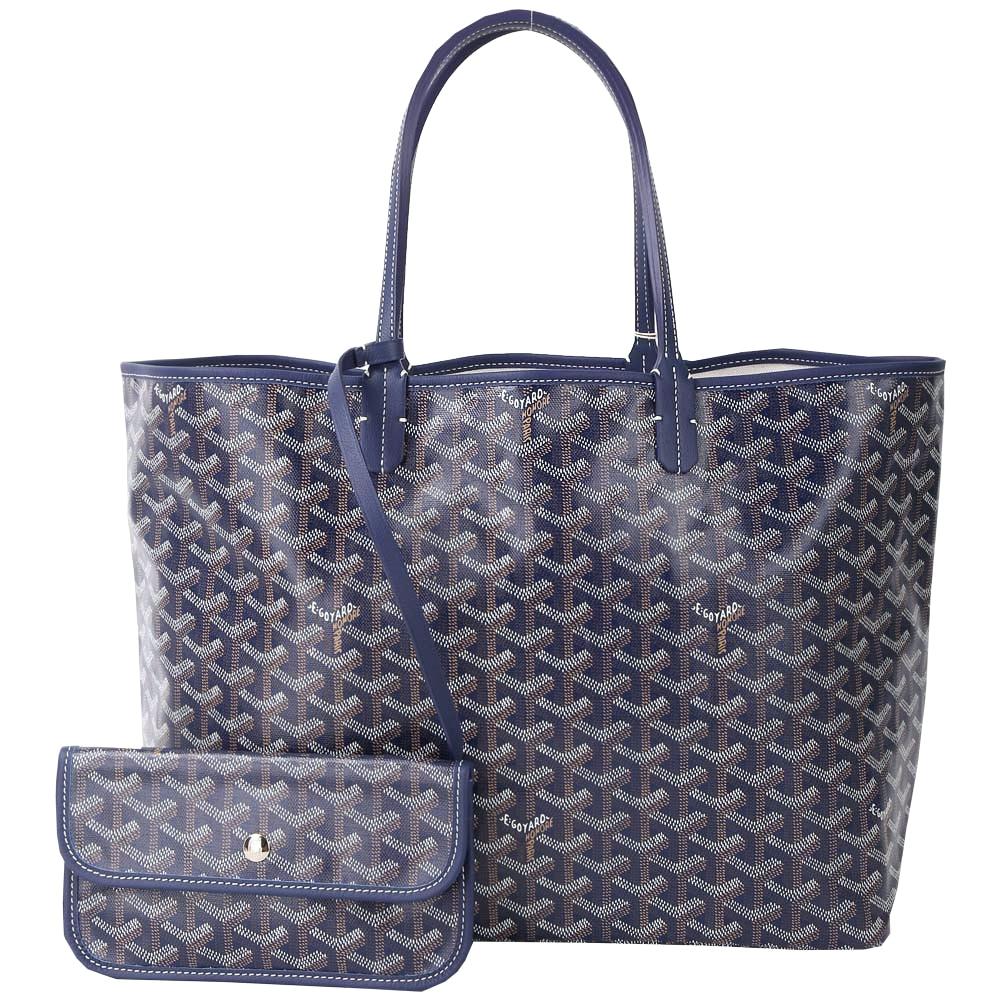GOYARD St. Louis PM 防水花紋LOGO圖騰購物包(中/深藍色)