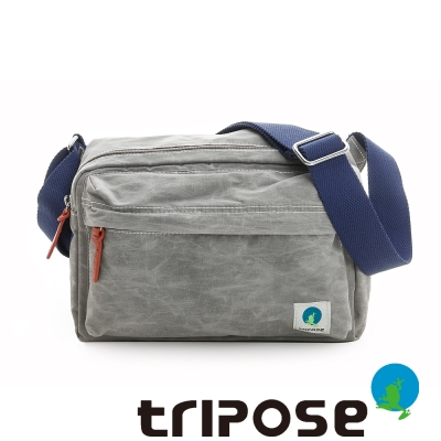 tripose 石蠟尼龍雙拉鍊斜背包 灰