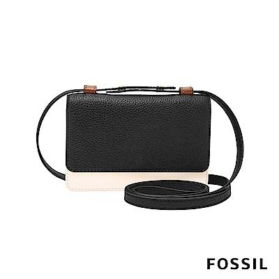 FOSSIL MILA 雙色真皮小方包-黑/米