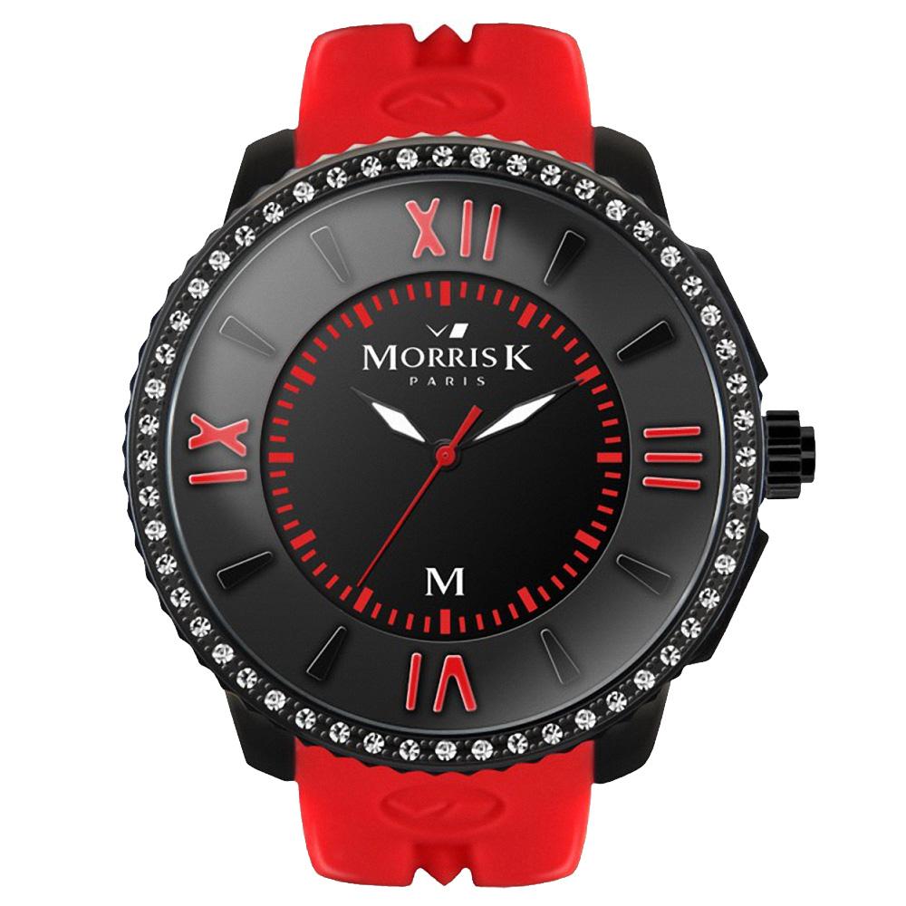 MORRIS K 獨一無二 晶鑽限量錶款-紅黑/45mm