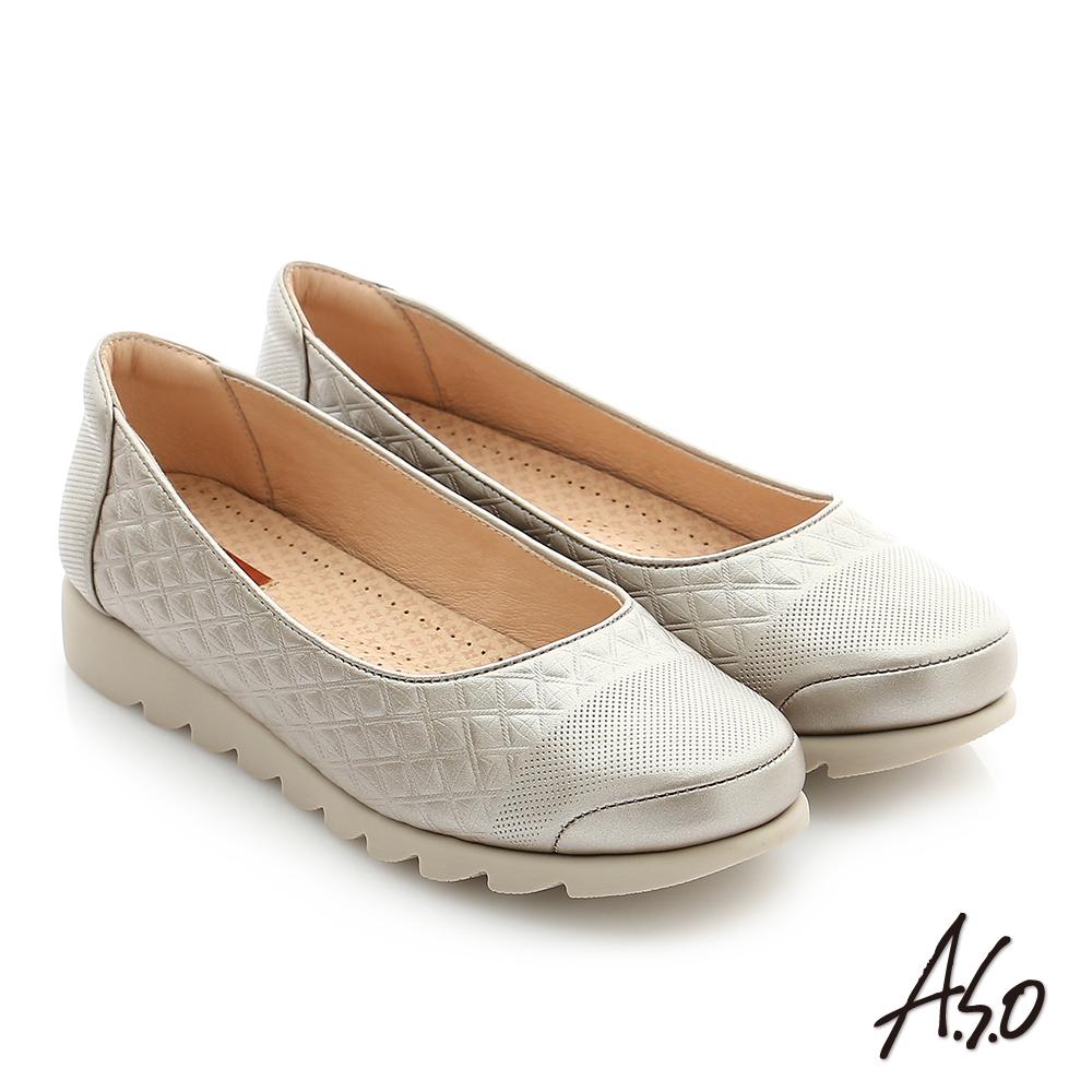 A.S.O 輕量休閒 真皮閃亮牛皮奈米休閒鞋 金色