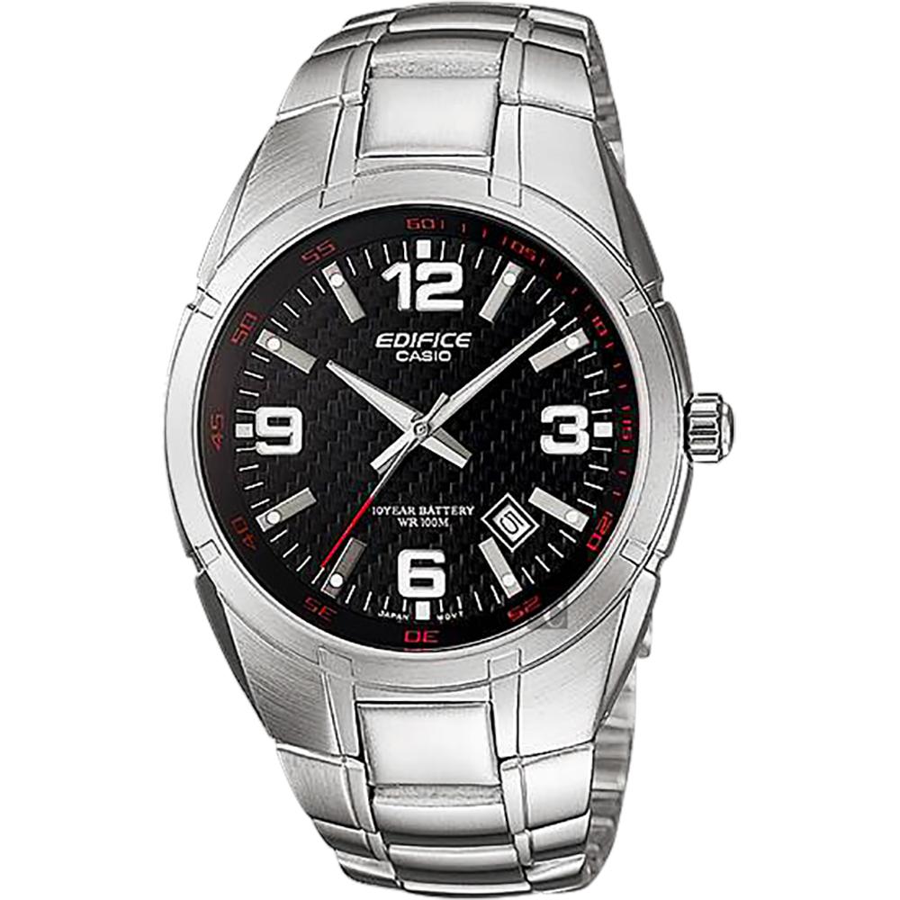 CASIO卡西歐 EDIFICE 三針系列手錶-黑x銀/48.7mm @ Y!購物