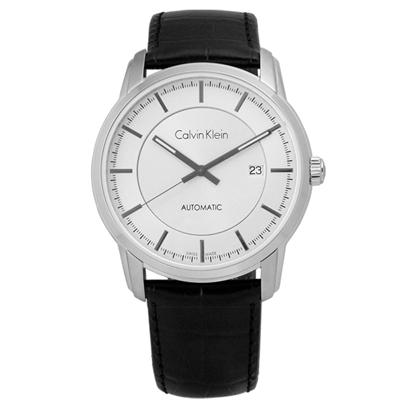 CK Infinite機械皮革腕錶-白x黑/42mm