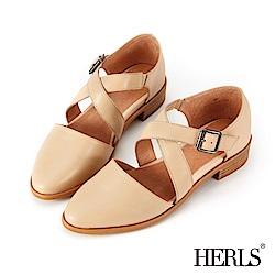 HERLS 輕恬優雅 全真皮交錯繫帶低跟鞋-杏色