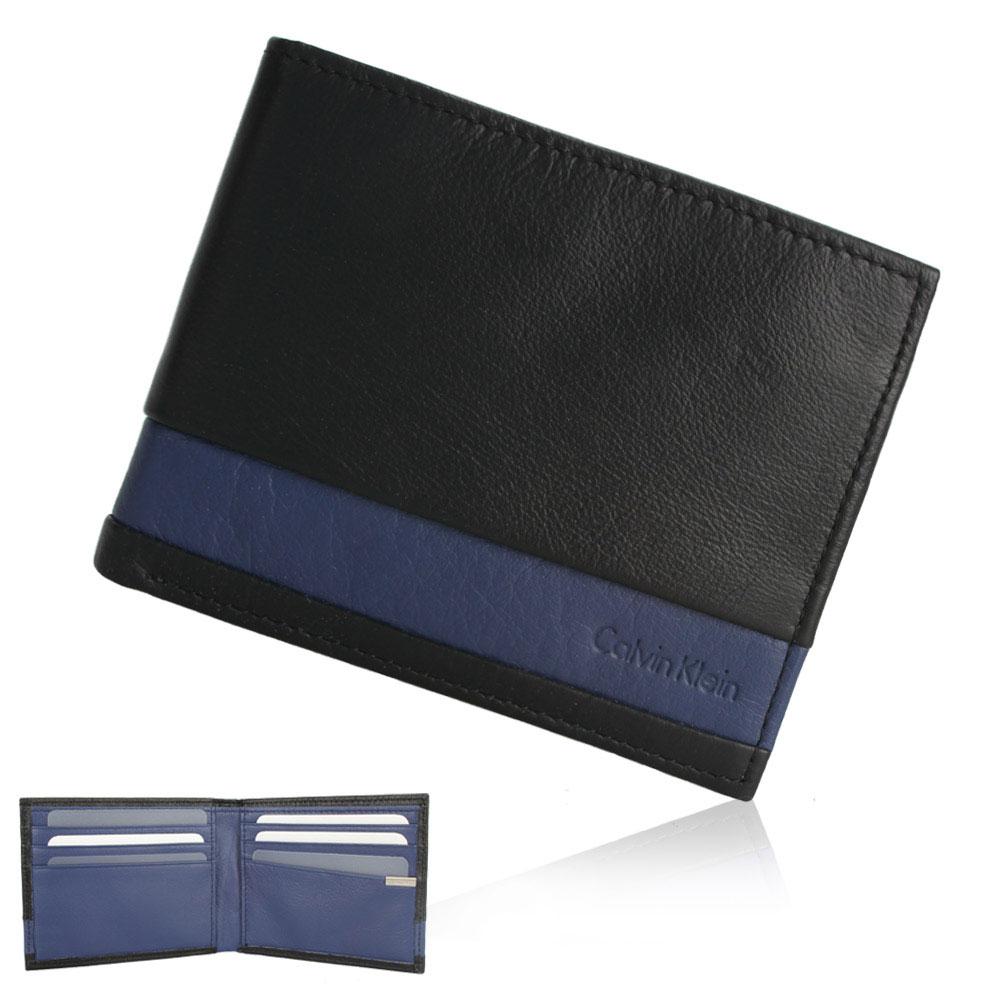 Calvin Klein 雙色橫紋皮革短夾鑰匙圈禮盒-黑/深藍色