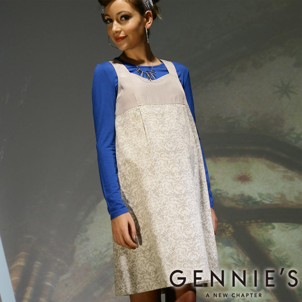 Gennie's奇妮– 氣質古典花紋孕婦背心洋裝(C2W08)