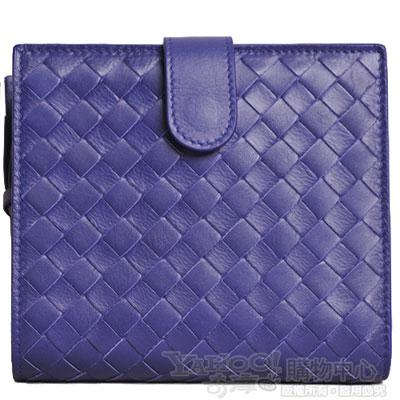 BOTTEGA VENETA 編織羊皮拉鏈零錢中夾(貴族藍)