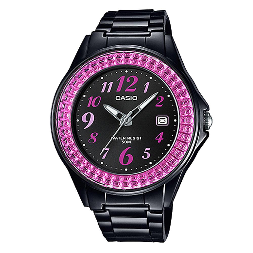 CASIO漾鑽女王簡潔時尚風指針日曆腕錶(LX-500H-1B)黑X桃紅框40.6mm