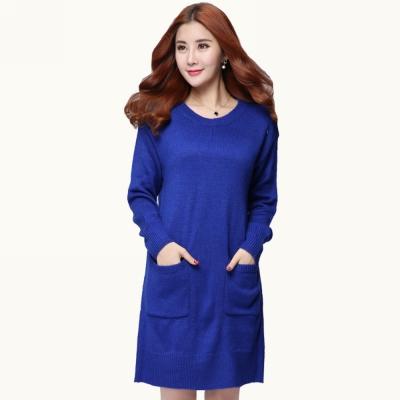 大尺碼-藍色針織毛衣洋裝