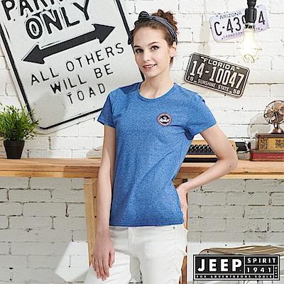 JEEP 女裝 極簡短袖T恤-藍色