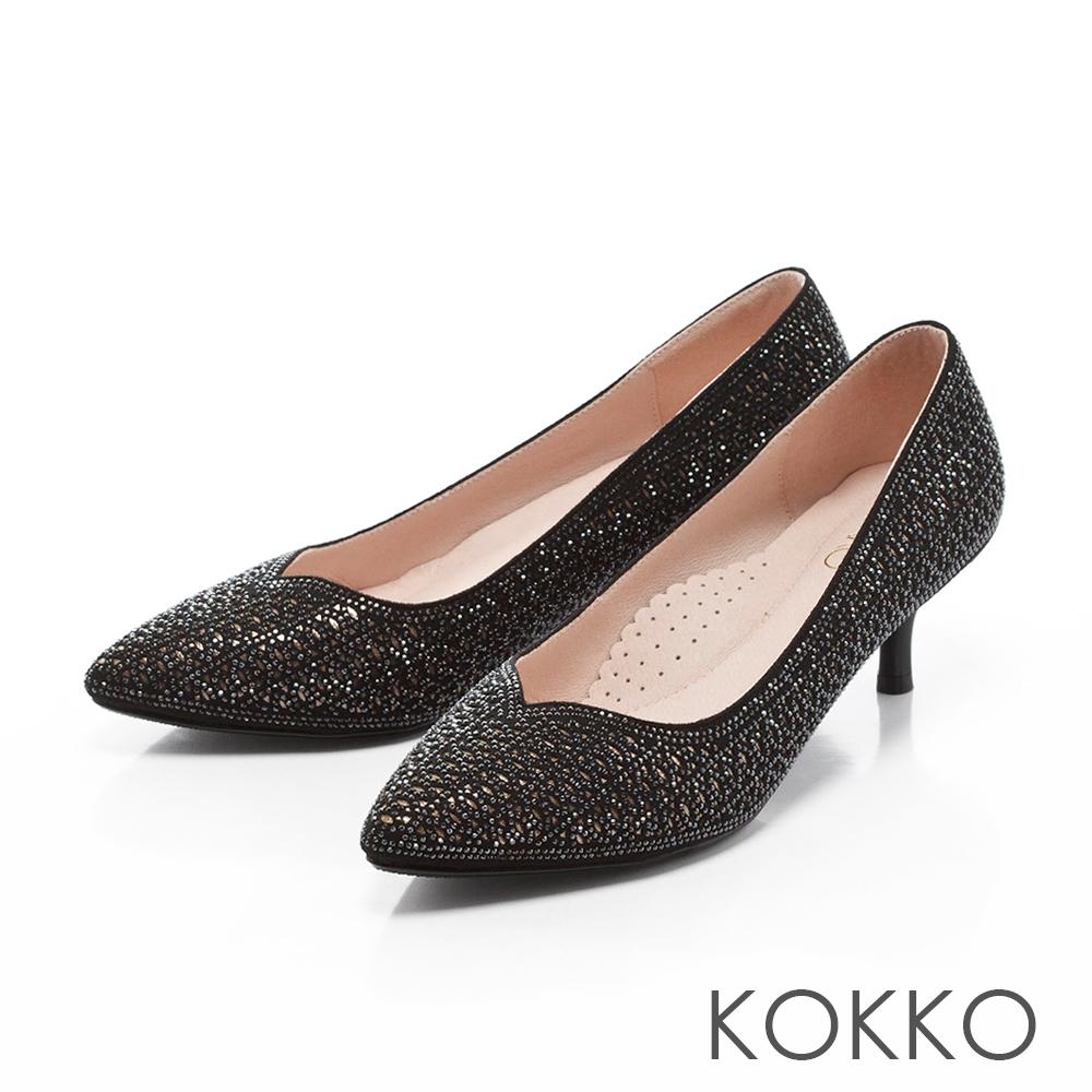 KOKKO - 輕奢璀璨尖頭雕花羊麂皮高跟鞋-氣勢黑