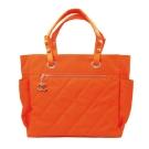 CHANEL Paris-Biarritz巴黎系列菱格紋購物托特包(螢光橘)