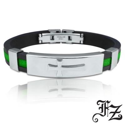 FZ 十字浮雕個性鋼手環(深綠)