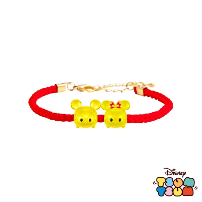 Disney迪士尼TSUM TSUM系列金飾 黃金編織手鍊-米奇+美妮款
