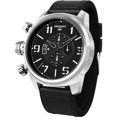 elegantsis Army 叢林戰鬥強悍三眼計時腕錶-黑/48mm