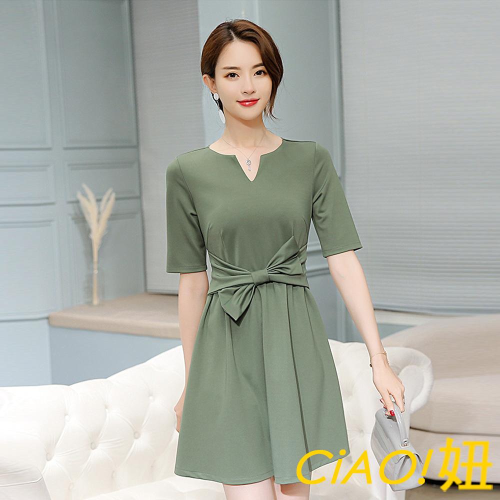 蝴蝶結腰帶設計純色連身裙 (灰綠色)-CIAO妞