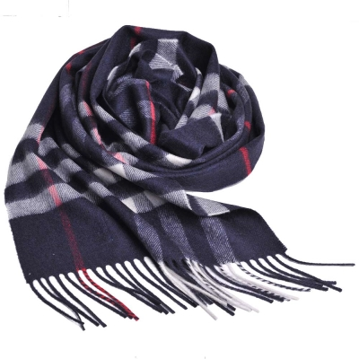 BURBERRY 經典大格紋喀什米爾羊毛圍巾(海軍藍/168x30)