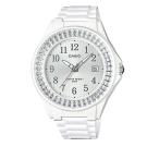 CASIO漾鑽女王簡潔時尚風指針日曆腕錶(LX-500H-7B2)白X銀框40.6mm