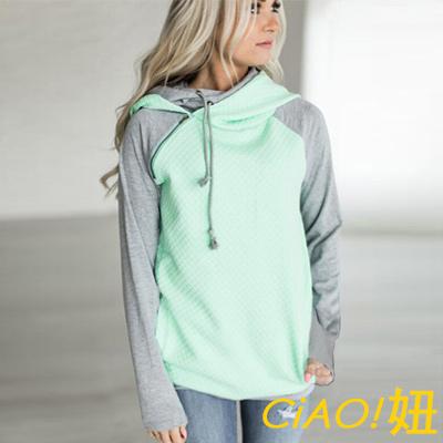 拼接斜拉鍊長袖連帽T恤 (共四色)-CIAO妞