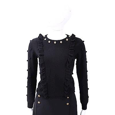 BLUGIRL-FOLIES 金屬花細節黑色毛球荷葉美麗諾羊毛衫