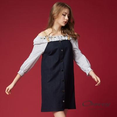 OUWEY歐薇 率性簡約吊帶洋裝(藍)