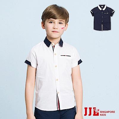 JJLKIDS 經典紳士撞色領純棉短袖襯衫(2色)