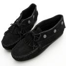 MINNETONKA 個性黑色麂皮流蘇鉚釘短靴 女鞋 (展示品)