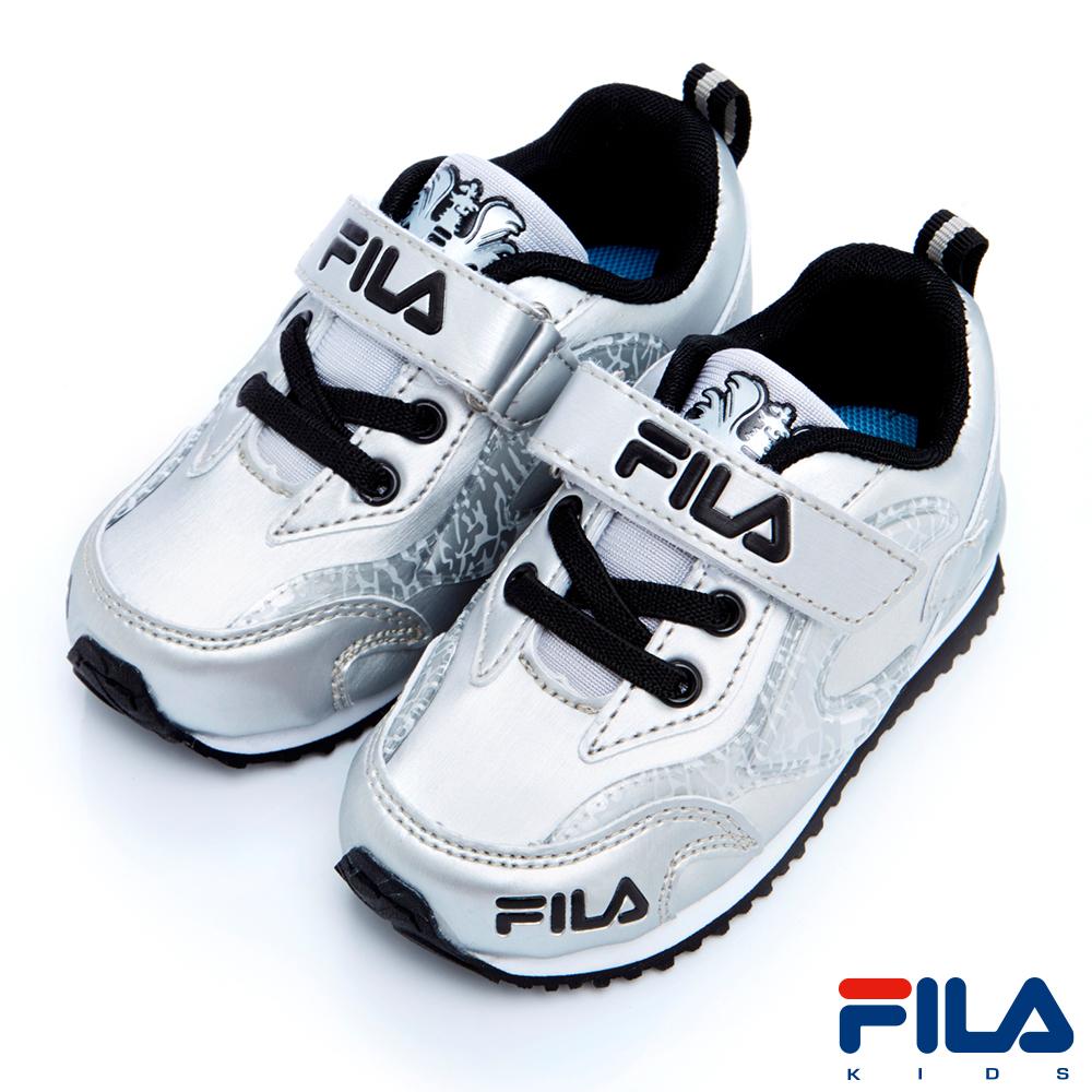 FILA KIDS小童EVA電燈輕量慢跑鞋-銀7-J854R-880