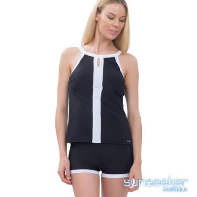 澳洲Sunseeker泳裝削肩運動款兩件式泳衣-黑