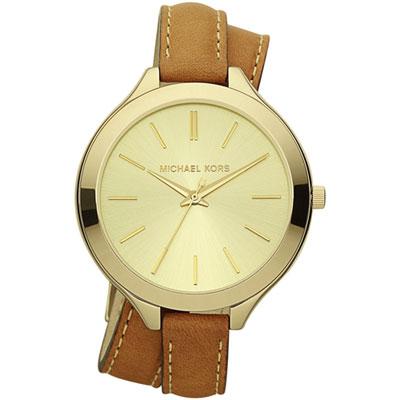 Michael Kors 薄型美姬環繞式腕錶-金/42mm