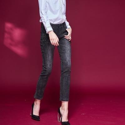 ICHE衣哲 拉鍊裝飾刷色單寧牛仔鉛筆顯瘦造型長褲-黑