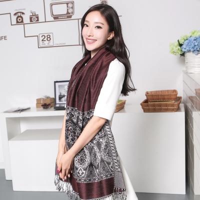 Seoul-Show波西風情-純棉編織圍巾-咖啡