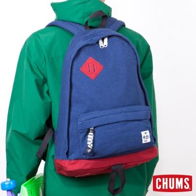 CHUMS-日本-Sweat-Nylon-經典款豬鼻後背包-深藍灰-紅