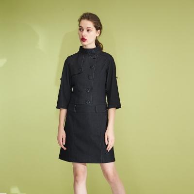Hana+花木馬 小立高領挺版七分袖深藍單寧牛仔洋裝