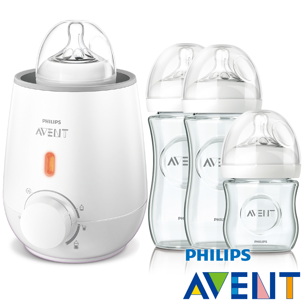 PHILIPS AVENT快速食品加熱器+親乳感玻璃防脹氣奶瓶2大1小